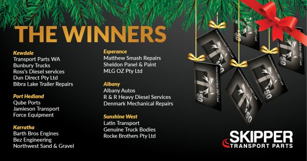 Christmas promo winners | Skipper Transport Parts